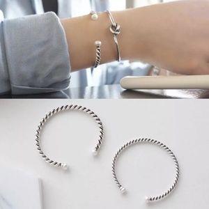 sterling silver rope bangle bracelet